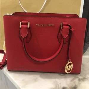 Michael Kors Camille Satchel in Bright Red